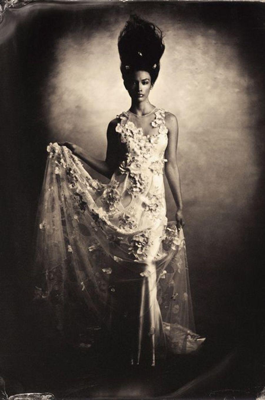 """«Photo inspirée de """"la mariée de Frankenstein"""", version Pompadour. Top-model: Karly McNeil, robe nuptiale par Elizabeth Fillmore, coiffure et maquillage par Jerry Lopez. La toile de fond est de Charles Broderson, conçue par Cynthia Altoriso. 2014»"""