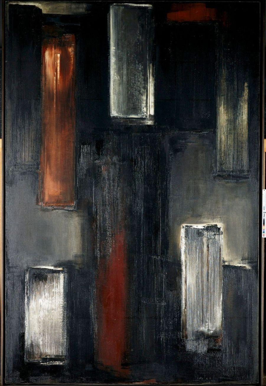 Huile sur toile, 195 x 130cm. 1955. Pierre Soulages ne donne jamais de titre à ses œuvres.