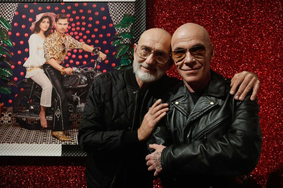 Pierre et Gilles mardi lors de l'inauguration de leur exposition à la Philharmonie à Paris.