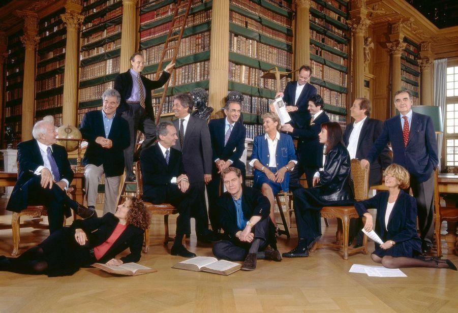 Le gotha de la culture réuni pour les 50 ans de la télévision. Bibliothèque Mazarine, Institut de France, juin 1997.