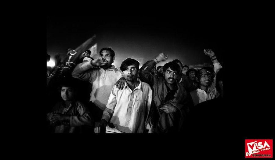 Pakistan, Islamabad, février 2008. Partisans de la Ligue musulmane du Pakistan.