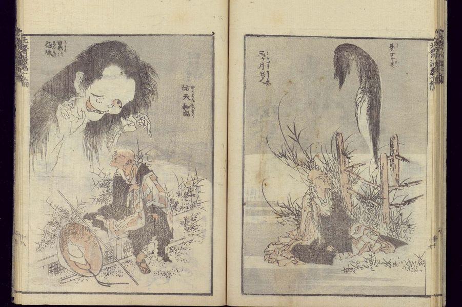 "Dessin représentant des yûrei, tiré de ""La Manga d'Hokusai volume 10"" de Hokusai Katsushika (Japon - 2e moitié du 19e siècle)"