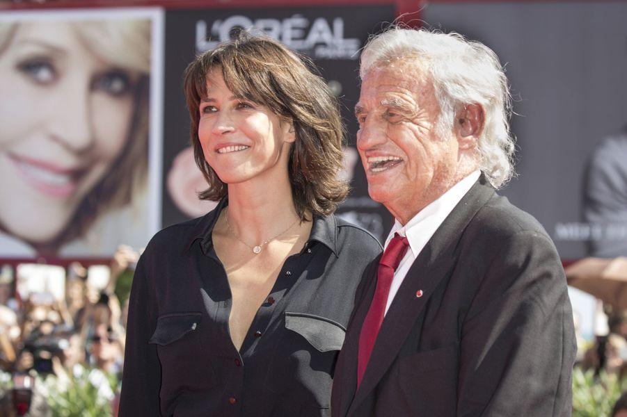 Jean-Paul Belmondo et Sophie Marceau à la Mostra de Venise, le 8 septembre.