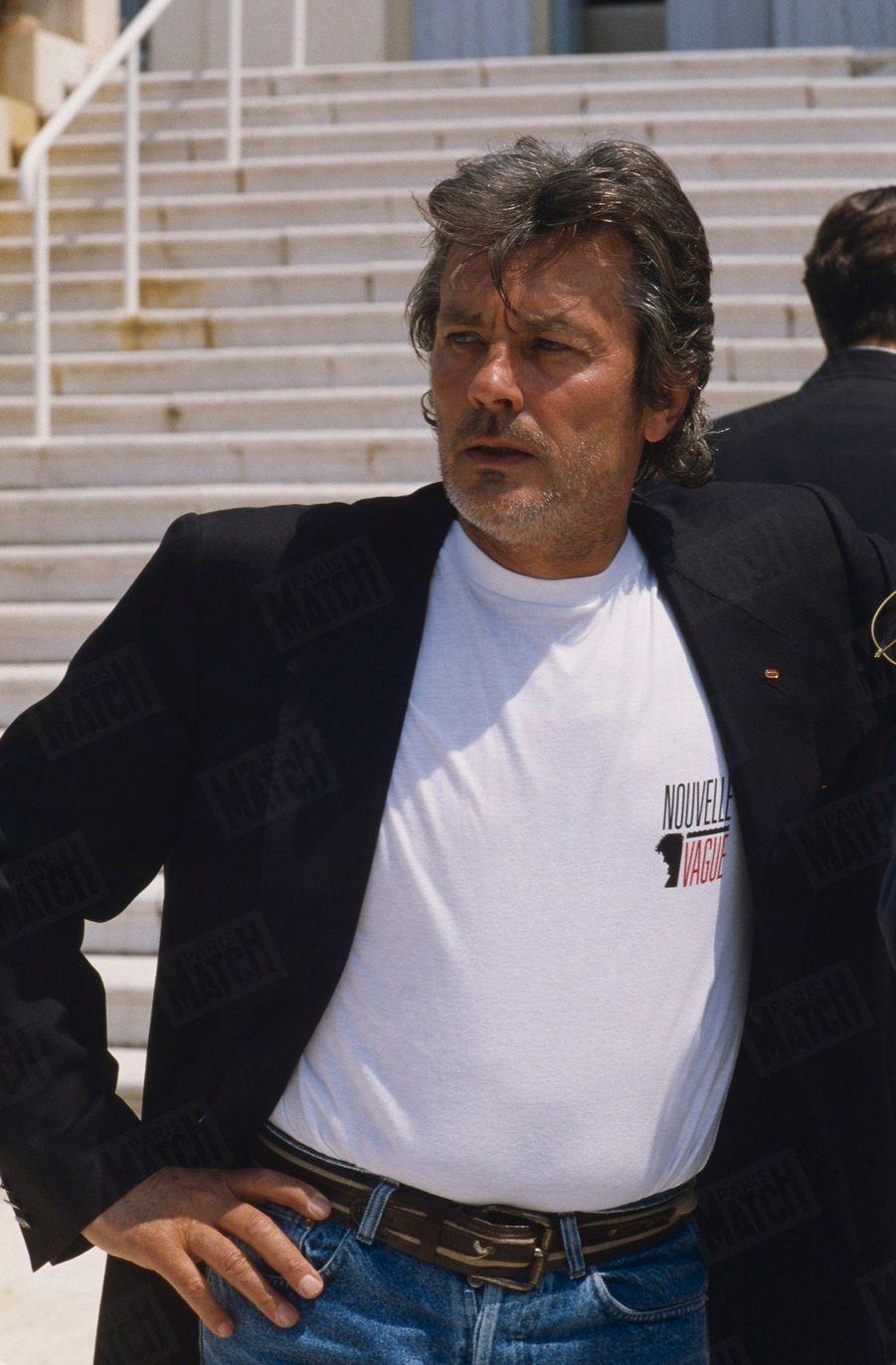 Alain Delon au Festival de Cannes, en mai 1990.