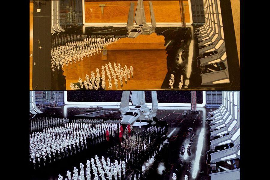 En haut, le matte painting de la photo précédente. En bas, son utilisation dans une image tirée du «Retour du Jedi».