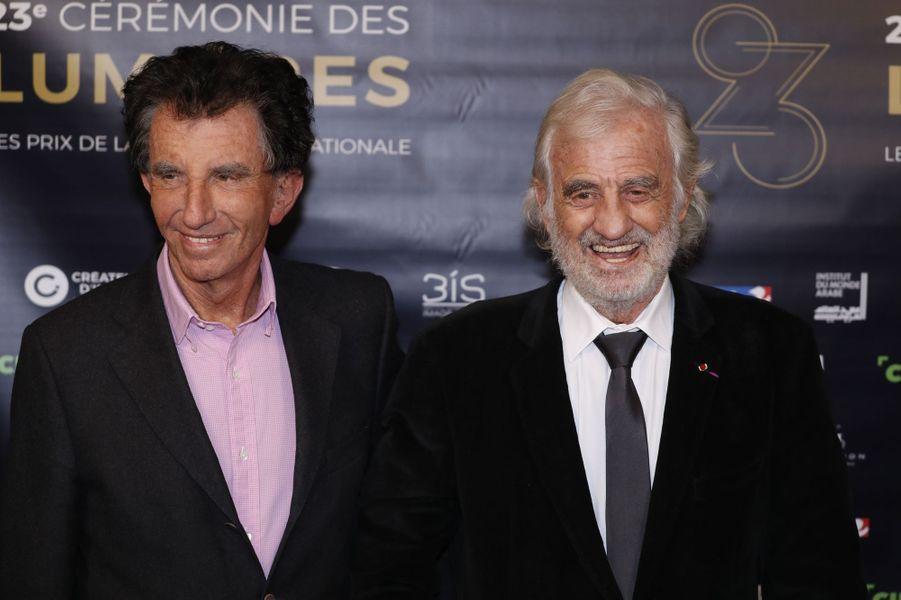 Jack Lang etJean-Paul Belmondo aux Lumières de la presse internationale