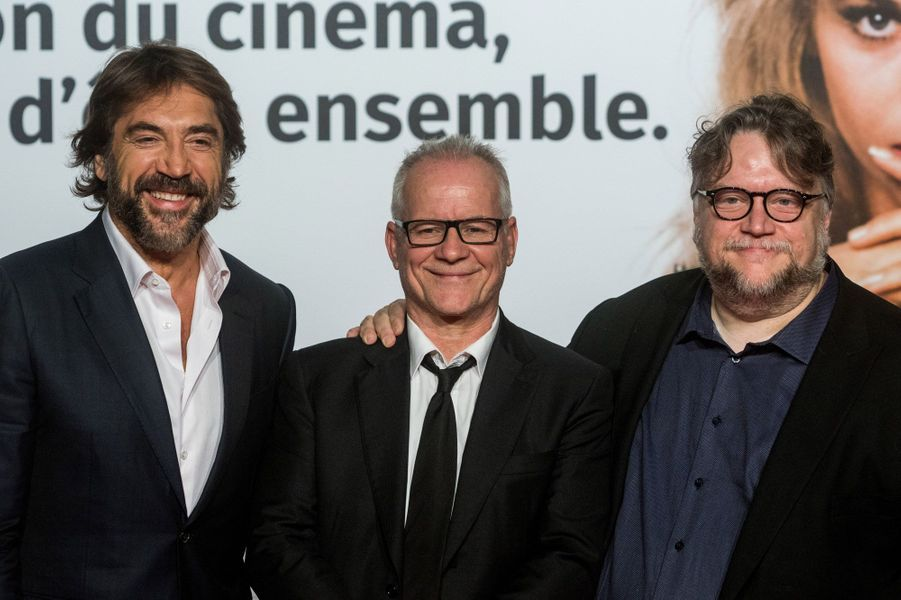 Javier Bardem, Thierry Frémaux et Guillermo del Toro