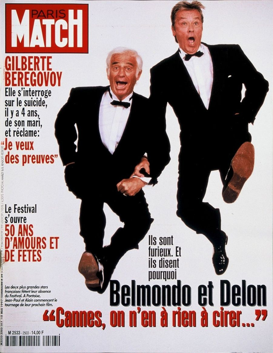 """""""Belmondo et Delon : 'Cannes, on n'en a rien à cirer…' Ils sont furieux. Et ils disent pourquoi"""" - Paris Match n°2503, daté du 15 mai 1997"""
