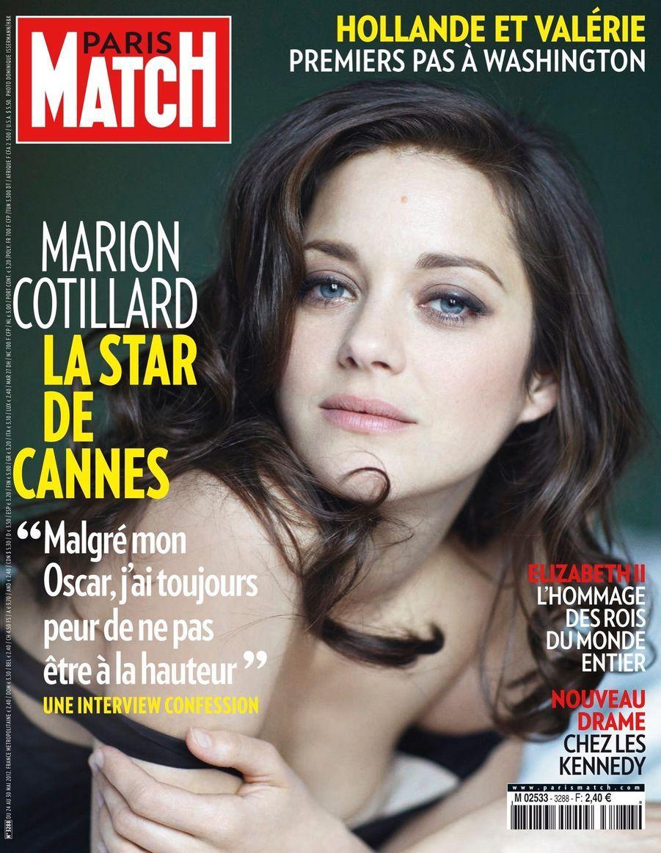 """""""Marion Cotillard, la star de Cannes : 'Malgré mon Oscar, j'ai toujours peur de ne pas être à la hauteur'"""" - Paris Match n°3288, daté du 24 mai 2012"""
