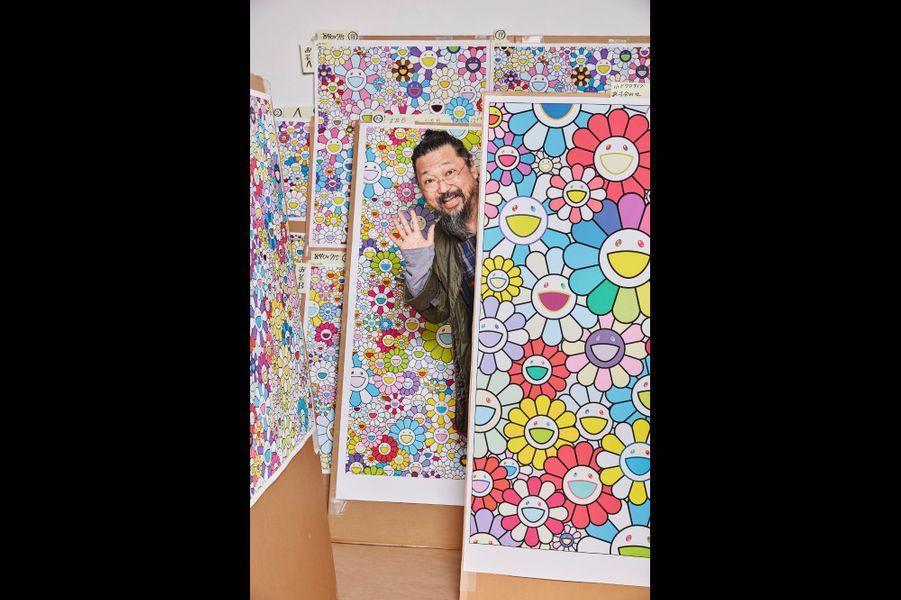 Murakami dans ses plates-bandes… Les fleurs, son motif préféré qu'il a dessiné quotidiennement pendant deux ans dans sa jeunesse.