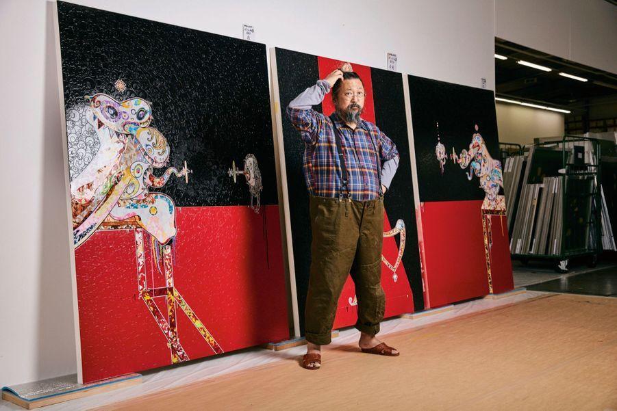 Takashi Murakami, 56 ans, devant un triptyque en hommage à Francis Bacon : « Un artiste bizarre, mais son travail est magnifique. C'est ça qui reste. »