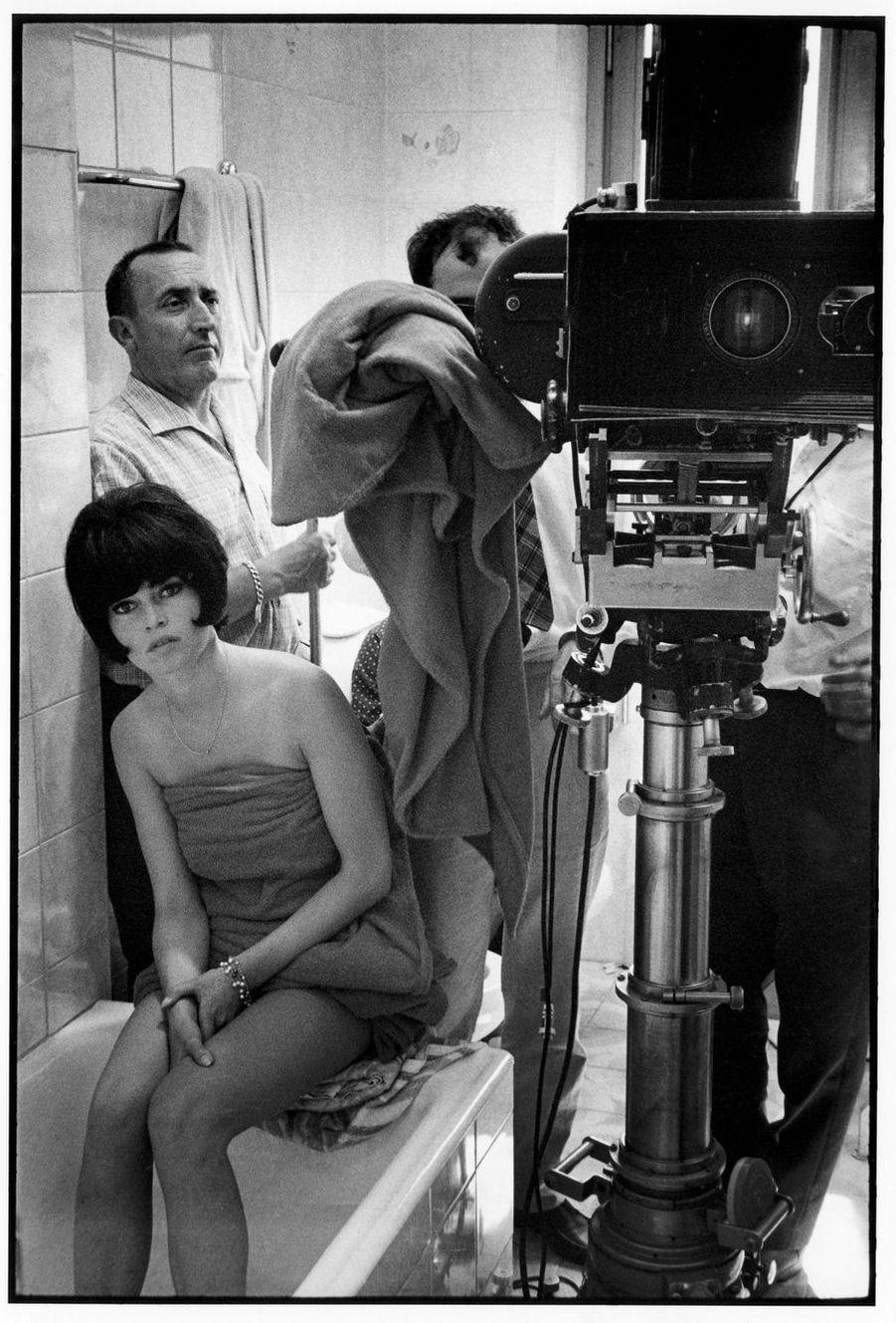 Jean-Luc Godard, Michel Piccoli et Brigitte Bardot sur le tournage du «Mépris».