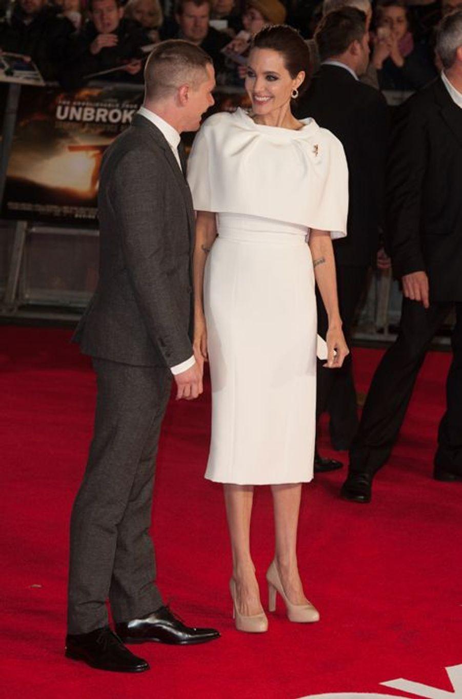 Angelina Jolie et Jack O'Connell à Londres le 25 novembre 2014