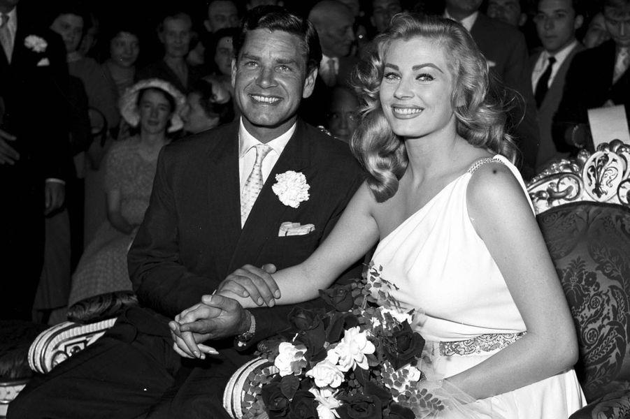 Anita Ekberg le jour de son mariage à Anthony Steel