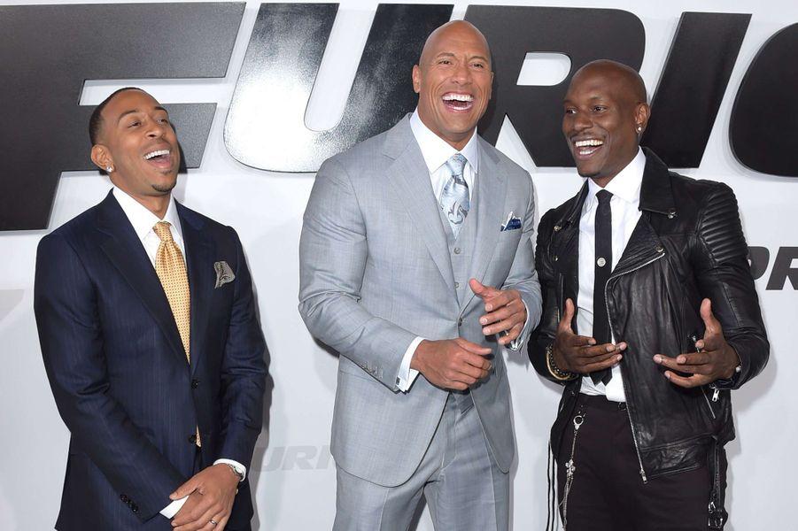 Ludacris, Dwayne Johnson et Tyrese Gibson à Los Angeles le 1er avril 2015