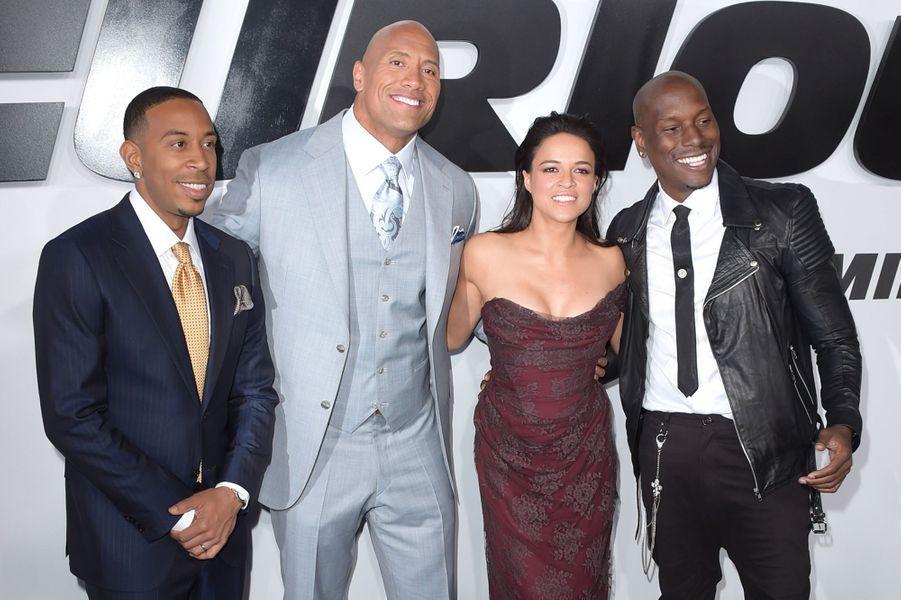 Ludacris, Dwayne Johnson, Michelle Rodriguez et Tyrese Gibson à Los Angeles le 1er avril 2015