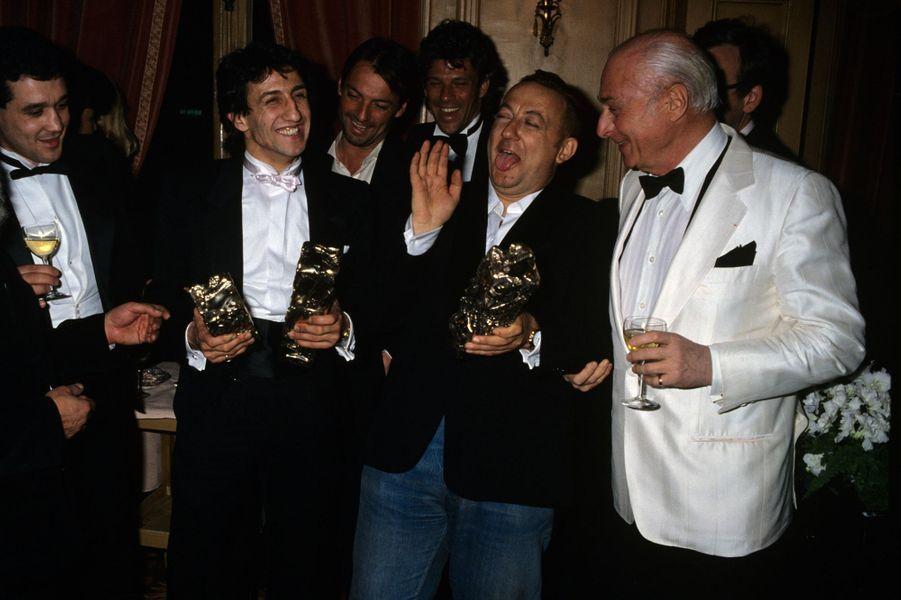 Coluche et Richard Anconina en 1986