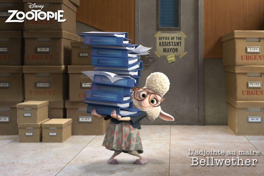 """Dans """"Zootopie"""", Claire Keim est la voix de la douche brebis à lunette Bellwether, adjointe de l'imposant maire Lionheart"""