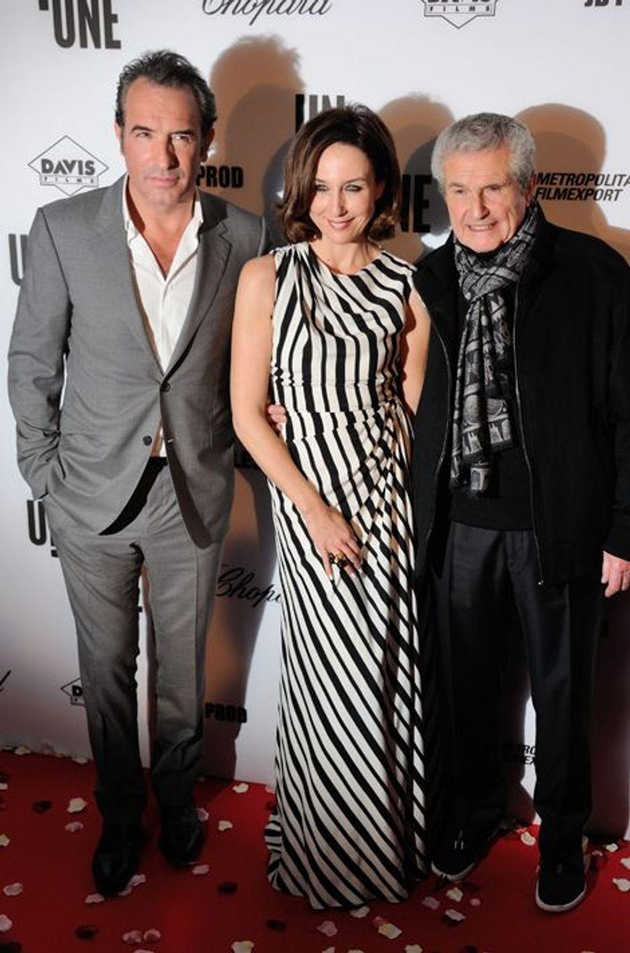 Jean Dujardin, Elsa Zylberstein et Claude Lelouch à Paris le 23 novembre 2015