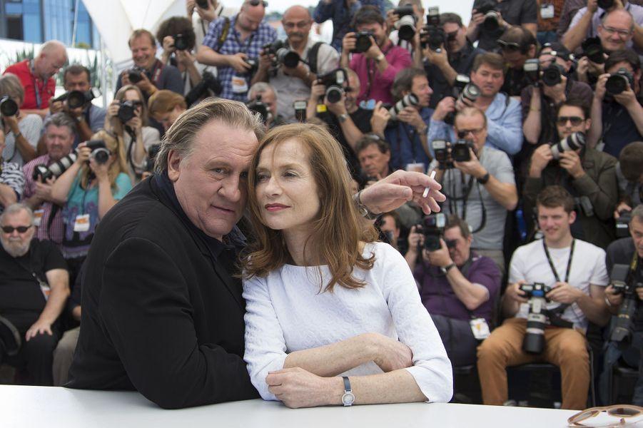 Gérard Depardieu et Isabelle Huppert à Cannes le 22 mai 2015