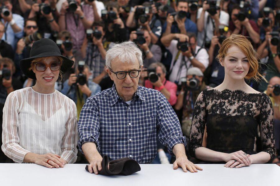 Parker Posey, Woody Allen et Emma Stone à Cannes le 15 mai 2015