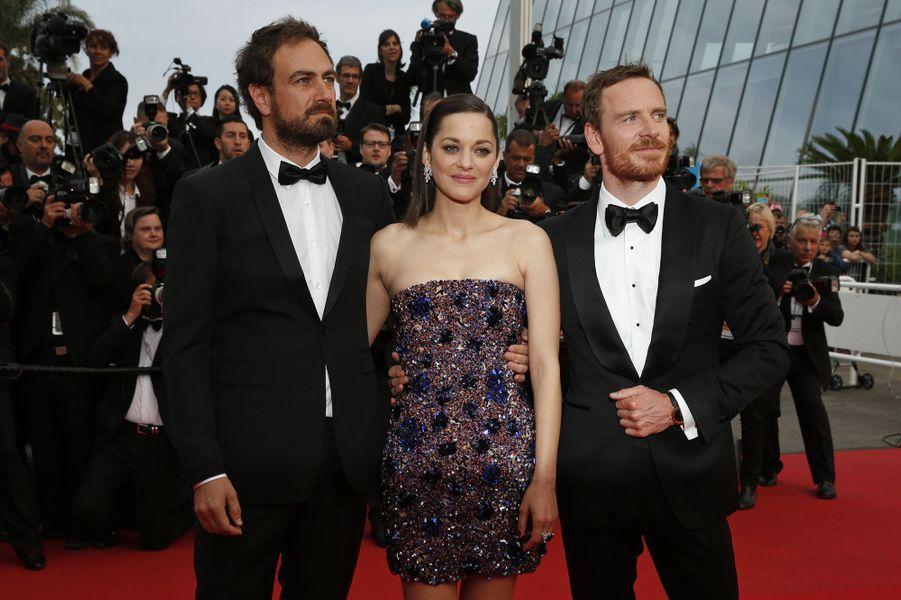 Justin Kurzel, Marion Cotillard et Michael Fassbender à Cannes le 23 mai 2015