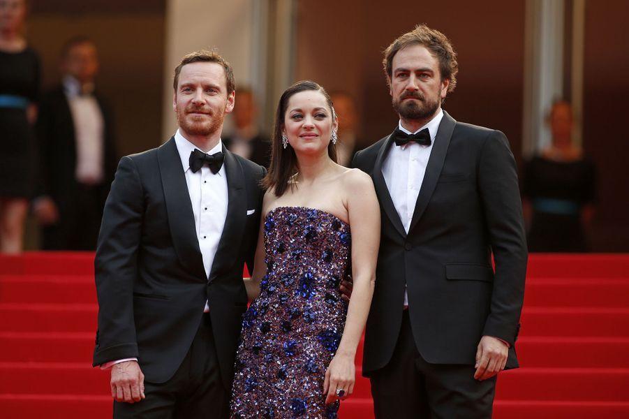 Michael Fassbender, Marion Cotillard et Justin Kurzel à Cannes le 23 mai 2015