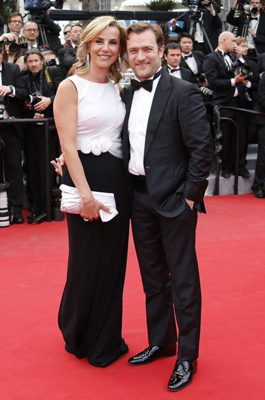 """Laurence Ferrari et Renaud Capuçon au Festival de Cannes, pour le tapis rouge du film """"L'homme irrationnel"""" de Woody Allen et Emma Stone"""