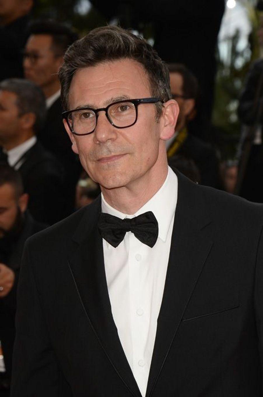 """Michel Hazanavicius au Festival de Cannes, pour le tapis rouge du film """"L'homme irrationnel"""" de Woody Allen et Emma Stone"""