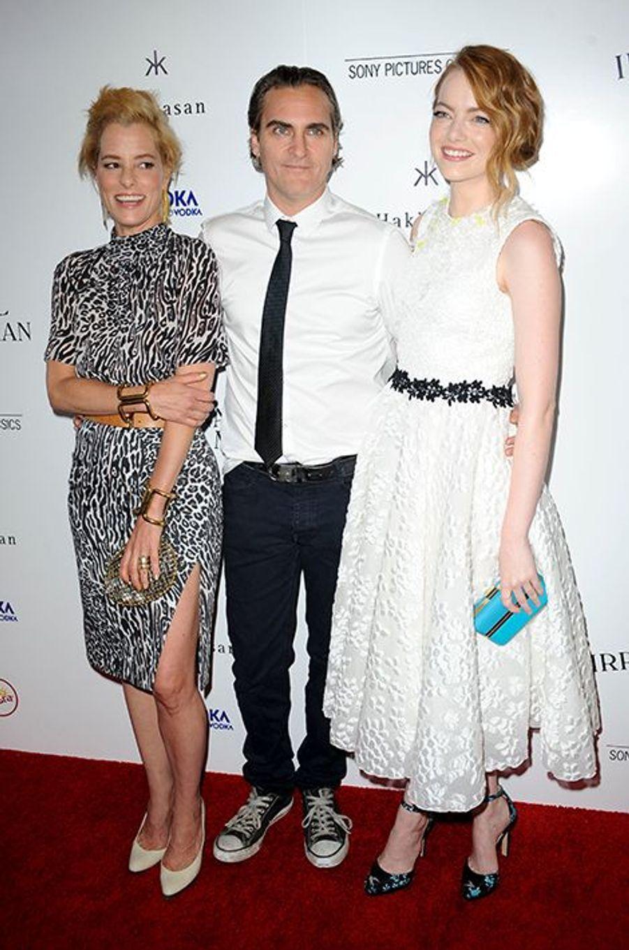 Parker Posey, Joaquin Phoenix et Emma Stone à Los Angeles le 9 juillet 2015