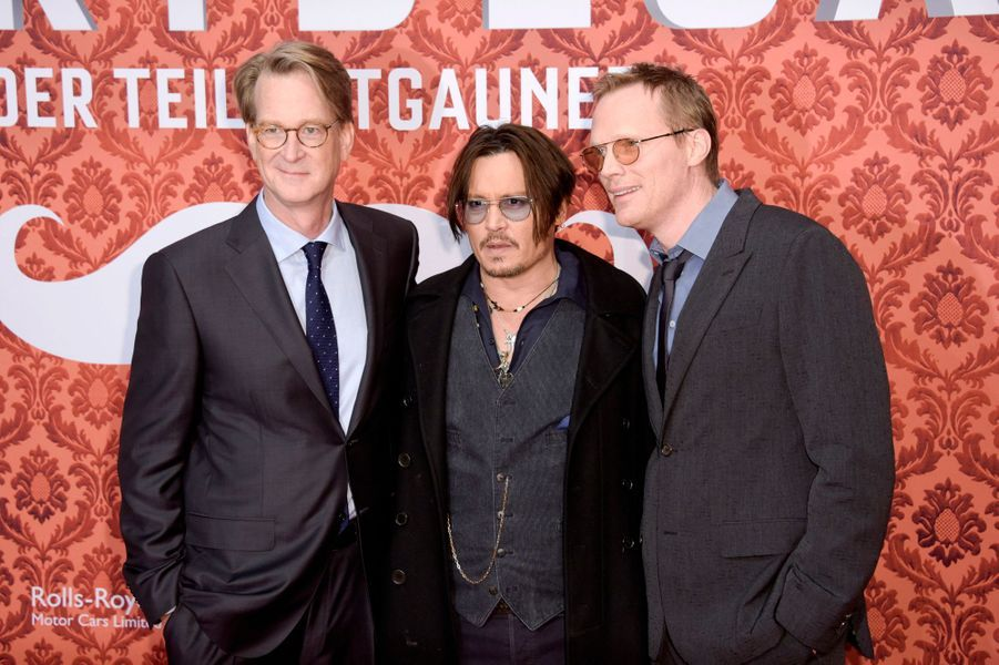 David Koepp, Johnny Depp et Paul Bettany à Berlin le 18 janvier 2015