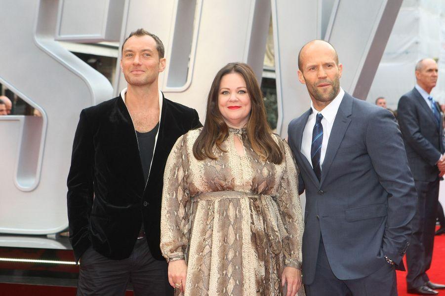 Jude Law, Melissa McCarthy et Jason Statham à Londres le 27 mai 2015