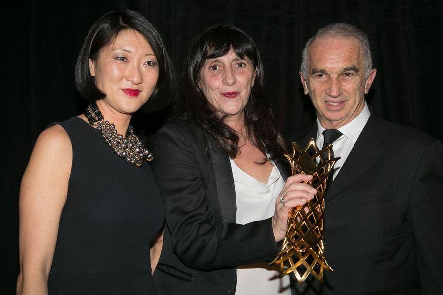 Fleur Pellerin, Sylvie Pialat et Alain Terzian à Paris le 16 février 2015