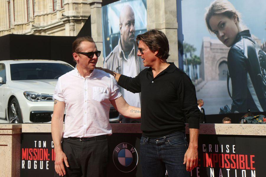 Simon Pegg et Tom Cruise à Vienne le 23 juillet 2015