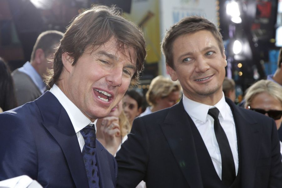 Jeremy Renner et Tom Cruise à New York le 27 juillet 2015
