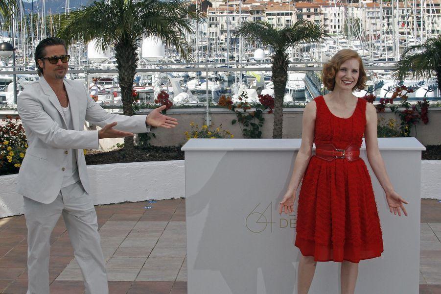 Brad Pitt et Jessica Chastain au Festival de Cannes en 2011.