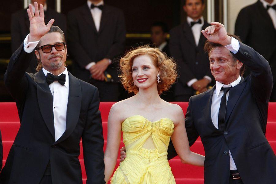 Sean Penn,Brad Pitt et Jessica Chastain au Festival de Cannes en 2011.