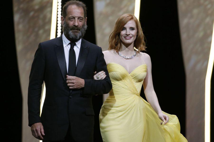 Jessica Chastain et Vincent Lindon au Festival de Cannes en 2016.