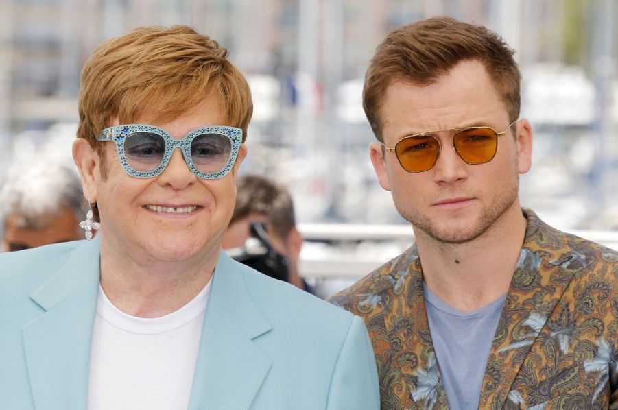 Elton John et Taron Egertonlors du photocall du film «Rocketman» le 16 mai 2019