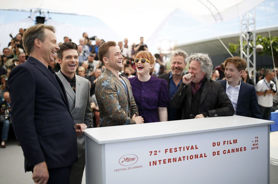 Dexter Fletcher, Taron Egerton, Richard Madden, Bryce Dallas Howard, Kit Connor et Adam Bohlinglors du photocall du film «Rocketman» le 16 mai 2019