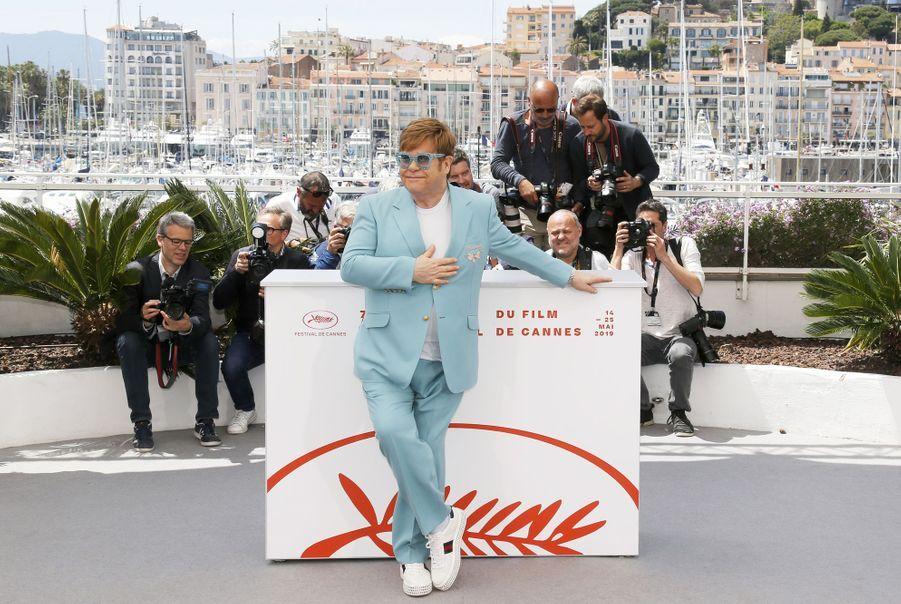 Elton John lors du photocall du film «Rocketman» le 16 mai 2019