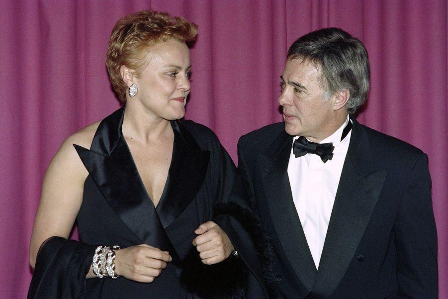 Guy Bedos et Muriel Robin en avril 1991, lors de la cérémonie des Molières.