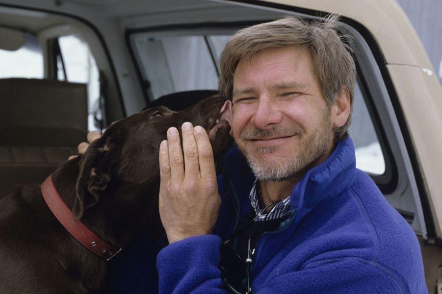 """Harrison Ford pose pour Paris Match, après le tournage de """"Working Girls"""" en 1988"""