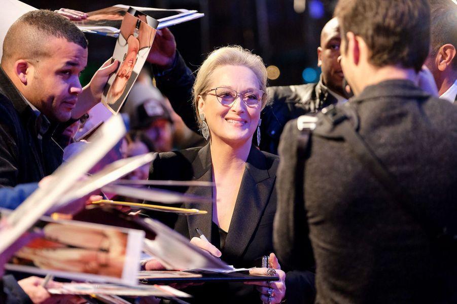 """Meryl Streep en promotion pour """"Pentagon Papers"""", janvier 2018."""