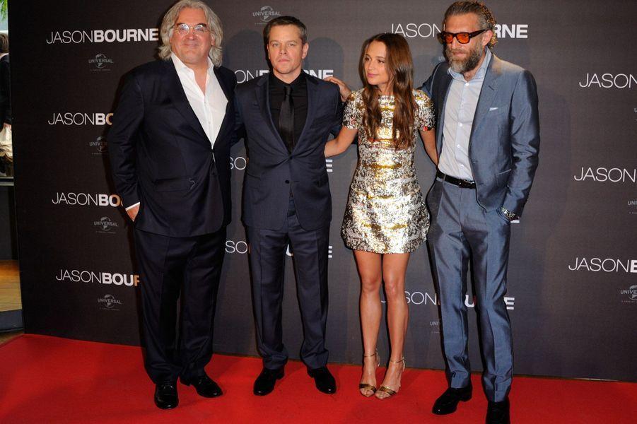 Paul Greengrass, Matt Damon, Alicia Vikander et Vincent Cassel