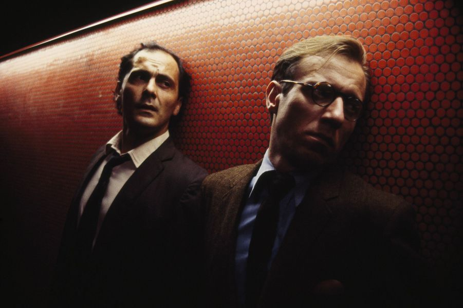 Jean-Pierre Bacri et Jean Bouise sur le tournage de «Subway» de Luc Besson en 1985.