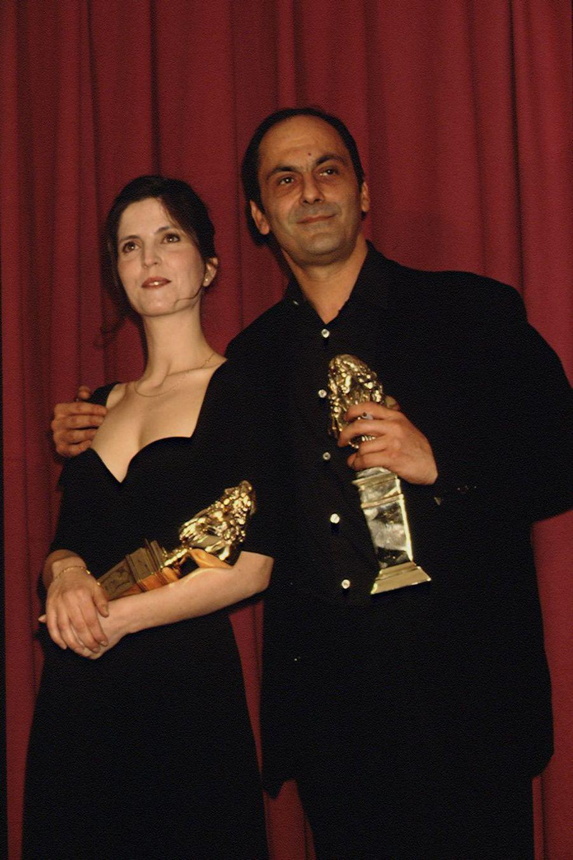 Agnès Jaoui et Jean-Pierre Bacri sur la scène des Molière en 1992.