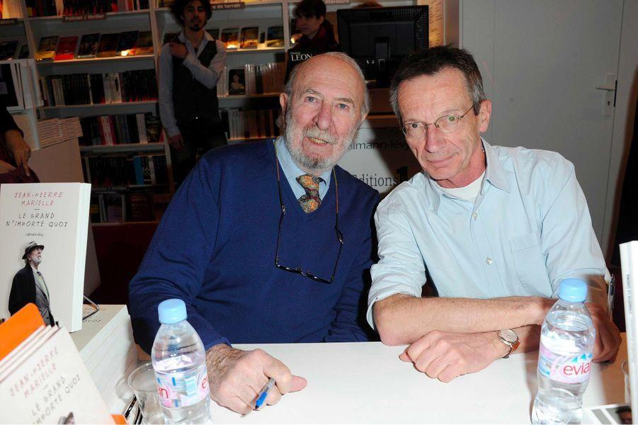 Jean-Pierre Marielle et Patrice Leconte au Salon du livre de Paris, en mars 2011.