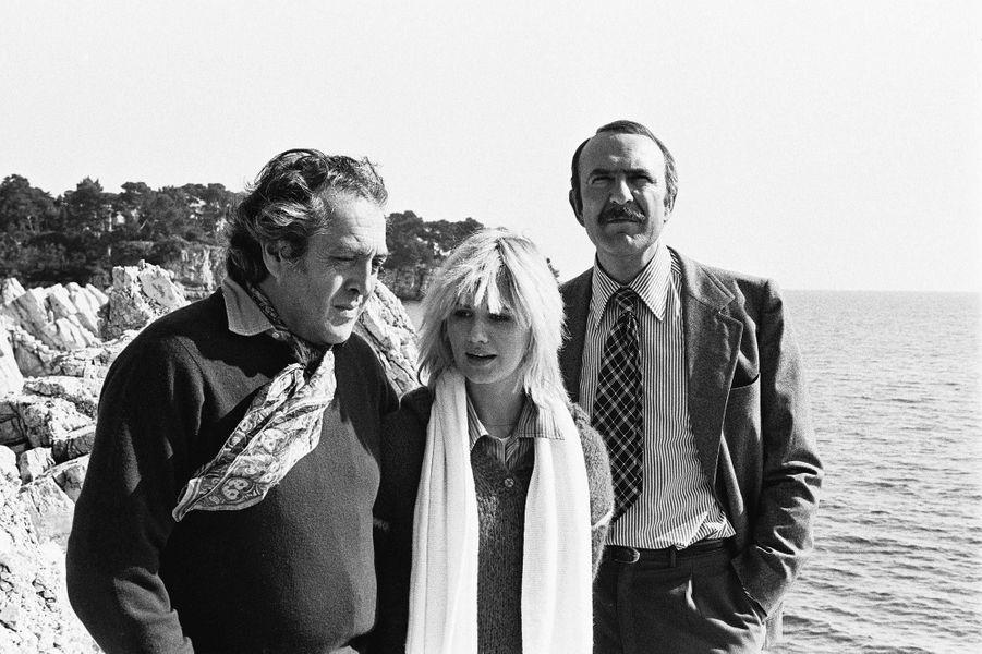 Georges Lautner, Miou Miou et Jean-Pierre Marielle, en 1976.