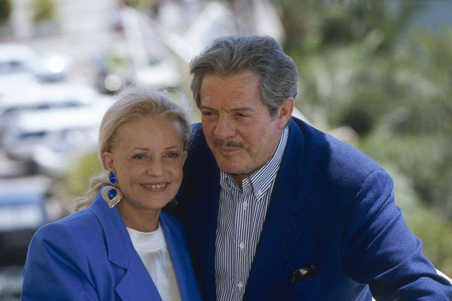 Festival de Cannes 1991. Jeanne Moreau avec Marcello Mastrioanni.